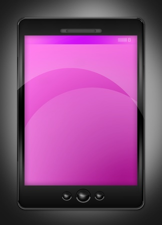 Pink PDA Phone. PDA  Smart Phone illustration. Pink Empty Display - Gray Background. Vertical Graphic. illustration