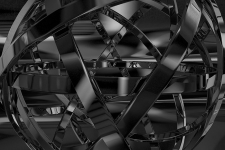 Abstract Metal Object - Abstract 3D Design. Black and White. Stock Photo - 10655151