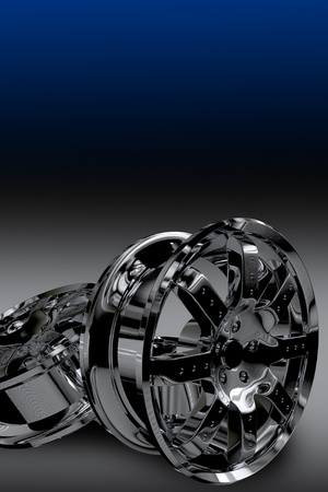 暗い青色の背景に暗い黒のアロイ ホイール。あなたの車輪の上コピー スペースを持つ縦型デザイン関連ロゴ、およびコンテンツ。縦型デザイン