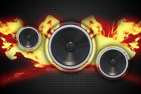 Bass Speakers in Fire. Great Music/Background Theme for Hot Events!  Dark Background Metal Pattern, Realistic Speakers and Flames. Archivio Fotografico