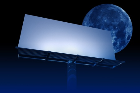 Empty Billboard at Night. Large Moon on the Sky. Night in the City. Outdoor Advertising Theme. Ready Billboard for Your Content. photo