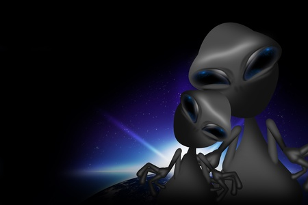 ufology: Two Gray Funny Aliens. Adult Alien with Teenage Alien. Dark Background with Earth Sunrise. Aliens Illustration.