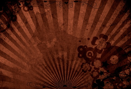 Dark Brown Grungy Floral Background. Cool Vintage Grungy Background with Floral Elelements and Rays. Stock Photo - 10654736