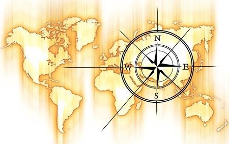 世界とコンパス ローズ。黄色-オレンジ色の動きぼやけの世界地図と黒コンパス ローズ。