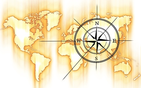World and Compass Rose. Yellow-Orange Motion Blurred World Map and Black Compass Rose. photo