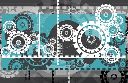 Modern Marvels Hi-Tech Illustraties  Achtergrond. Abstract Havy Duty Machinery Illustratie. Tandwielen en Tandwielen. Stockfoto