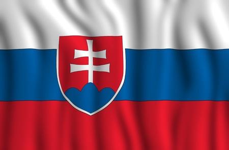 slovak: Slovakia National Flag Illustration. Waving Slovakia Flag.