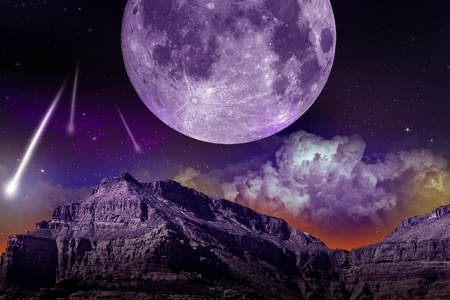 Fantasy NIght. Abstract Earth-Space Composition with Large Moon and Comets  Asteroids. Dark Violet Theme. Abstract Illustration.