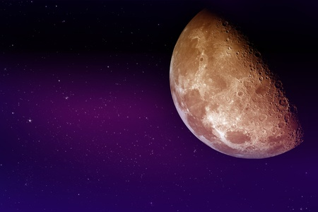 overnight: Our Moon - Real Moon Photo Mixed with Cool Night Sky Illustration. Purple-Violet Night Sky Illustration