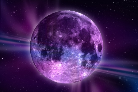 Fantasy Moon. Colorful Moon Illustration. Large Violet Moon with North Pole Lights and Stars  Space Around. Violet-Purple Theme. Great As Background.