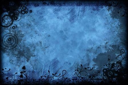 horizontal: Vintage Floral Blue Background Design. Black-Blue Old Grunge-Vintage Background. Stock Photo