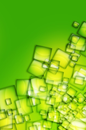 Green Boxes Abstract Yellow-Green Background. Multiply Transparent Boxes. Vertical Background Design.