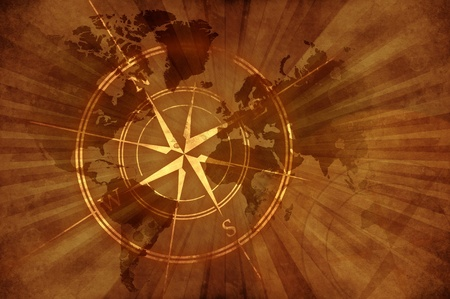 Grunge Old Map with Compass Rose. Damaged Retro Style Design World Map Background with Browny Rays Background. Foto de archivo