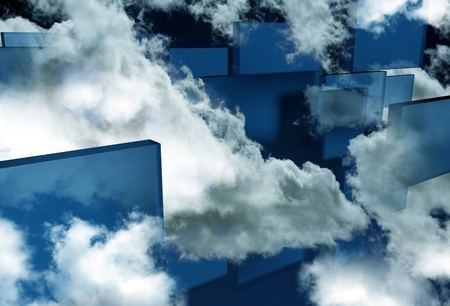 Abstract Art Illustration. Blue Glass Blocks Flying Between Clouds. Fantasy Theme. illustration