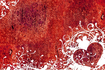 grunge: Heart Red Grunge Background. Grunge Heart with Floral Elements on Grunge Red Wall. Great As Background with Copy Space. Stock Photo