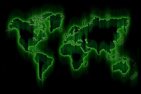 Green Glowing World Map. Hi-Tech Motion Blur Green Map. Imagens