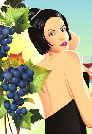 Vrouw in Winery Tussen de Druiven. Vrouw met Wijn in Glas wijn proeven. Wijngaard Raster Illustratie. Stockfoto