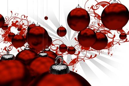 Rode Kerstmis siert met rode bloemen ornamenten op witte achtergrond met grijze Stralen. Holiday Theme. 3D Christmas Ornaments. Stockfoto