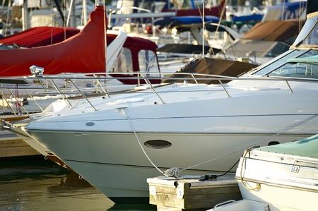 motorboats: Motorboats - Chicago Marina Mediterranean Pier. Horizontal Photo Stock Photo
