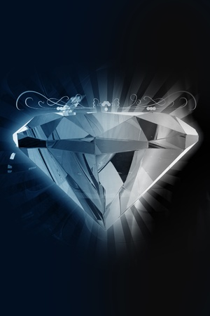 Black Diamond - Elegant Diamond Achtergrond. 3D Diamond met stralen en ornamenten. Zwart-donkere achtergrond. Verticale Design. Groot als Jewelry Store achtergrond, enz.