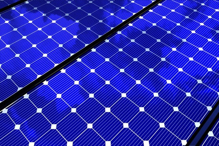 voltaic: Alternative Energy Theme: Solar Panels Background. Horizontal 3D Render Solar Panels Illustration.
