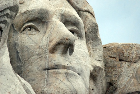 Mount Rushmore, South Dakota Black Hills: Thomas Jefferson Sculpture Face (April 13, 1743 � July 4, 1826) Was the Third President of the United States (1801�1809) and the Principal Author of the Declaration of Independence (1776).