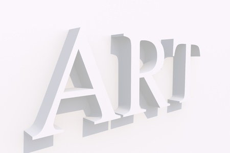 Art Word 3D White on White Wall. 3D Render Illustration. Banco de Imagens