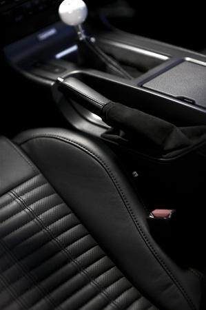 dark interior: Performance Vehicle Black Leather Interior. Manual Transmission, Sport Seats. Dark Interior. Car Interiors Photo Collection Stock Photo