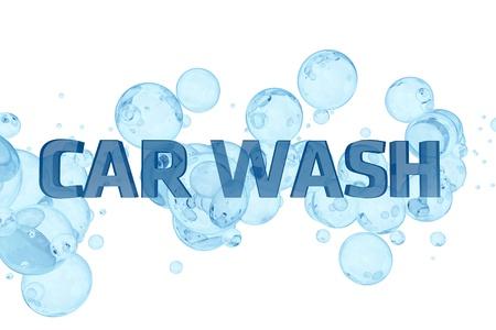 Car Wash Design. Blue Bubbles and Glassy Car Wash Letters. White Solid Background. Cool Car Wash Theme. 3D Render illustration. Archivio Fotografico
