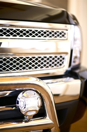 Truck Grill Guard. Chromed - Polished Stainless Steel Front Grill Guard. Vehicle Accessories. Transportation Photo Collection. Stok Fotoğraf