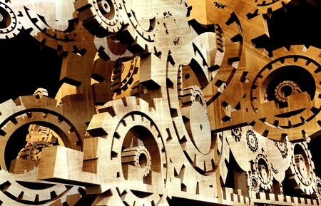 heavy: Heavy Duty Machinery 3D Render Illustration. Black Background. Many Sprockets  Gears Abstract Machine.