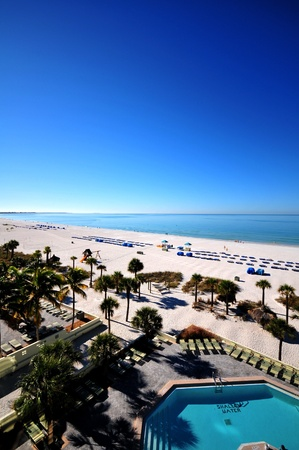 Tampa Florida Beach. Tampa, FL USA. Clear Blue Sky Over the Mexican Gulf. Vertical Photo