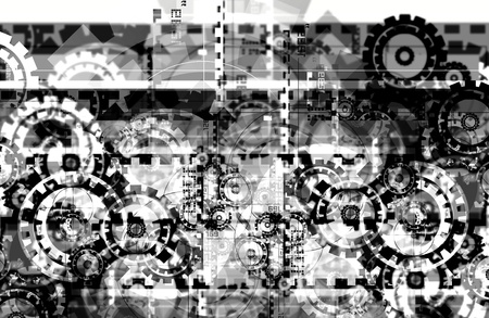sprockets: Black and White Hi-Tech Background. Sprockets and Gears Abstract Technology Background.