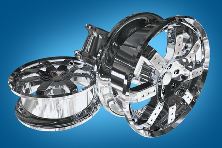 alloy wheel: Chromed Car Alloy Wheels on Blue Background. Three Chrome Alloy Wheels. 3D Render Illustration