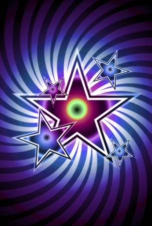 Rock Star - Cool Blue-VIolet Stars Background with Spiral  Whirl Background. photo