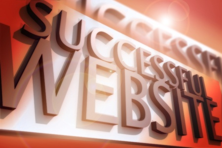 website words: Successful Website - 3D Render Illustration with Words: Successful Website. Reddish Colors and Lens Flare.