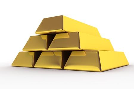Goldbars 3D Render. Golden Bars Illustration. White Background.