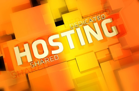 shared: Dedicated and Shared Web Hosting 3D Render Illustration. Orange-Yellow Colors.