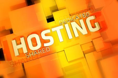 hosting: Dedicated and Shared Web Hosting 3D Render Illustration. Orange-Yellow Colors.