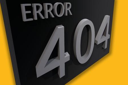 3D Render Illustratie: Error 404 Pagina niet gevonden. Gele Achtergrond - zwart-grijs 3D-Board met Word Error 404. Stockfoto