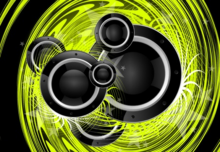 Cool Green Music Vortex Background Design with Large Black Speakers.