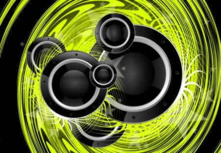 loud speaker: Cool Green Music Vortex Background Design with Large Black Speakers.