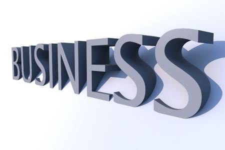 incorporate: Business 3D Word. Light Blue Business 3D Render Word. Righ Side View.