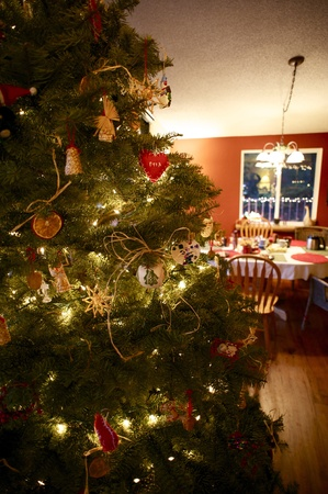 Christmas Time - Beautiful Christmas Tree and Part of Dinning Room. Holiday Theme photo