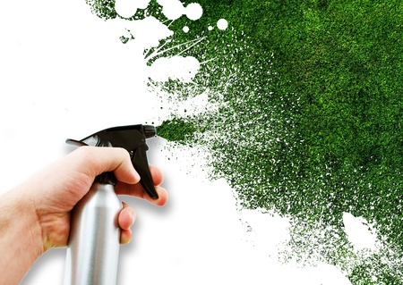 sprayer: Grass Spray. Cool Creative Illustration. Perfect for Green Energy Related Artwork. Grass Paint. Stock Photo