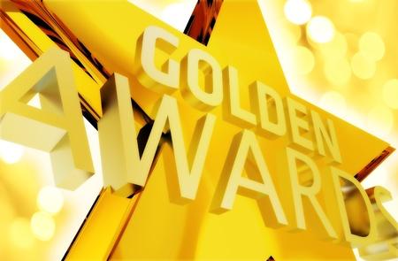 Golden Awards Ceremony Intro Illustration. Large Golden Star with Words: Golden Awards. Some Golden Bokeh. Standard-Bild