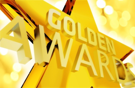 Golden Awards Ceremony Intro Illustration. Large Golden Star with Words: Golden Awards. Some Golden Bokeh. 版權商用圖片