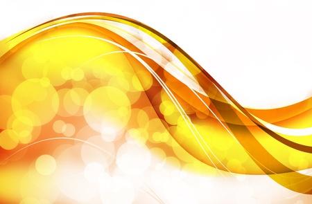 Abstract Background: Golden Wavy Bokeh Design. photo