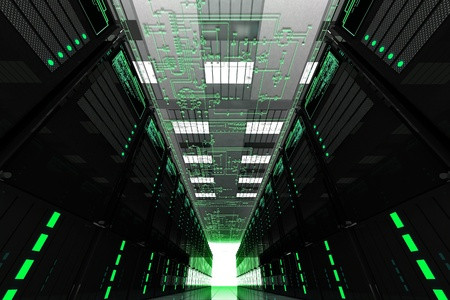 network server: Servers Room. Large Data Center with Many Web Servers. Electronic Schema on the Top. Hosting Theme Render.