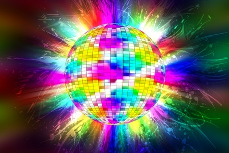 Disco Party Ball with Colorful Flames-Lights. Great Background for Music-Dance Events.